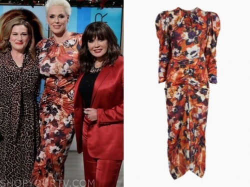 brigitte nielsen's orange floral dress