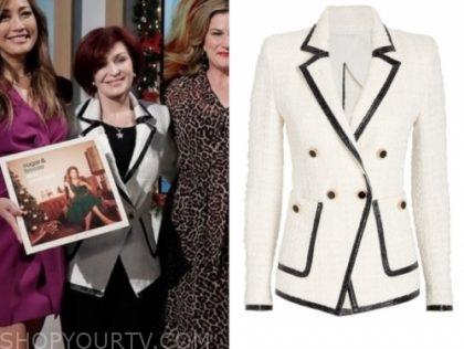 sharon osbourne's white and black double breasted blazer