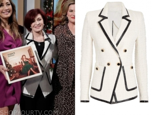sharon osbourne's white and black double breasted blazer
