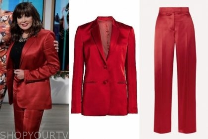 marie osmond's red satin pant suit
