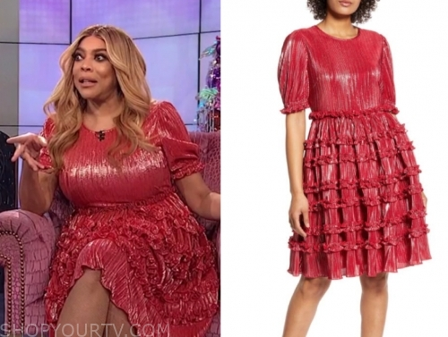wendy williams's red metallic ruffle dress