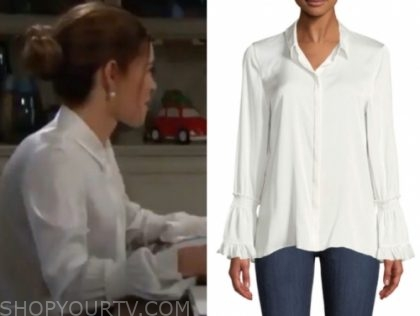 victoria newman's white bell sleeve blouse