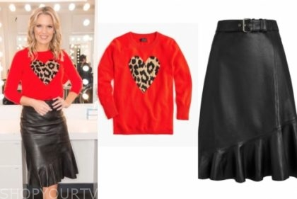 charlotte hawkins's red heart sweater and black leather skirt