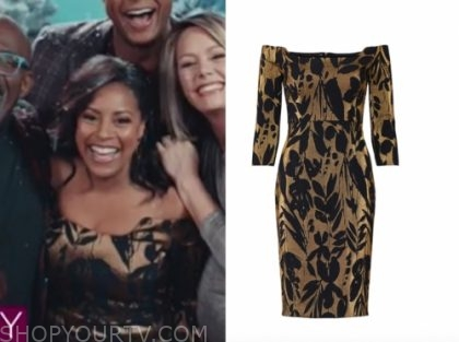 sheinelle jones's gold and black off-the-shoulder dress