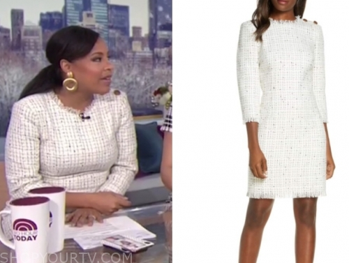 sheinelle jones's ivory tweed dress