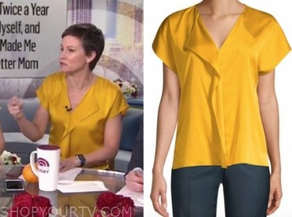 stephanie gosk's yellow silk top