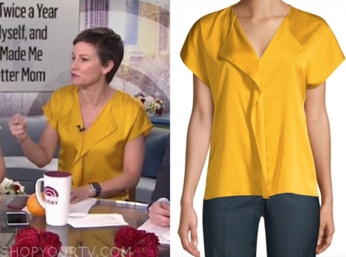 stephanie gosk's yellow silk top