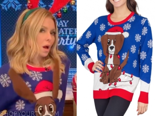 kelly ripa's blue dog christmas sweater