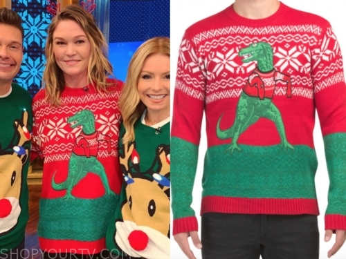 julia stiles's dinosaur christmas sweater