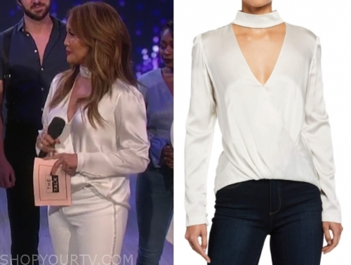 carrie ann inaba's ivory choker drape blouse