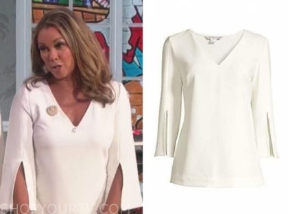 vanessa williams's white v-neck split sleeve top