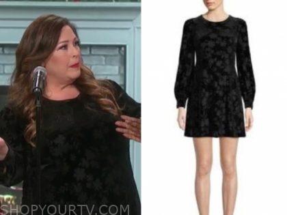 carnie wilson's black floral velvet dress