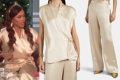 eve's gold satin wrap top and pants