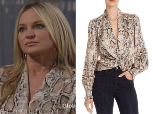 sharon newman's snakeskin twist top