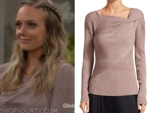 abby newman's pink metallic twist sweater