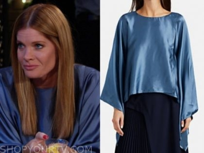 phyllis newman's blue satin cape top