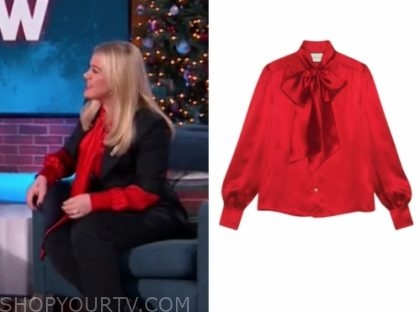 kelly clarkson's red silk tie neck blouse