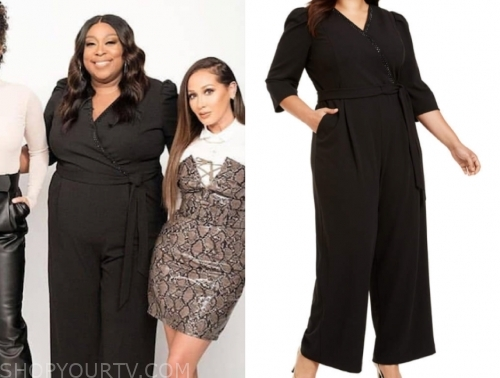 loni love's black embellished trim wrap jumpsuit