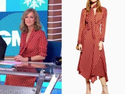 lara spencer's rust dot print tie neck midi dress