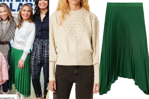 lori bergamotto's green pleated skirt and ivory sweater