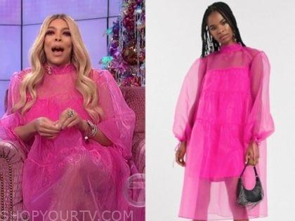 wendy williams's hot pink midi sheer dress