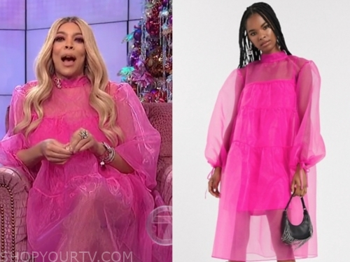 wendy williams's hot pink midi sheer dress