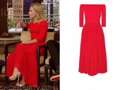 kelly ripa's red midi flare dress