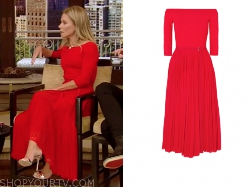 kelly ripa's red midi flare dress