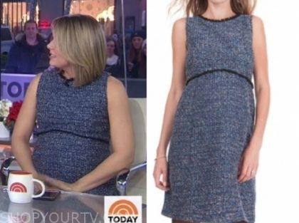 dylan dryer's navy blue tweed maternity dress