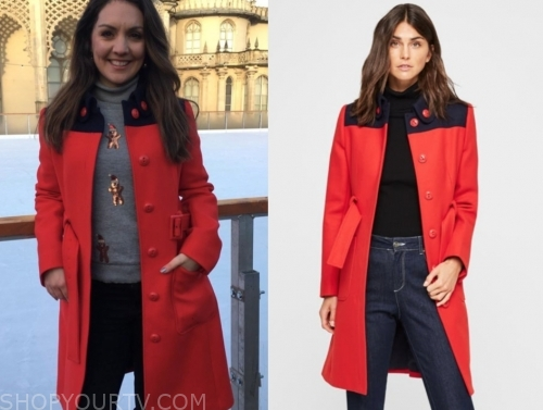 laura tobin's red and navy colorblock coat