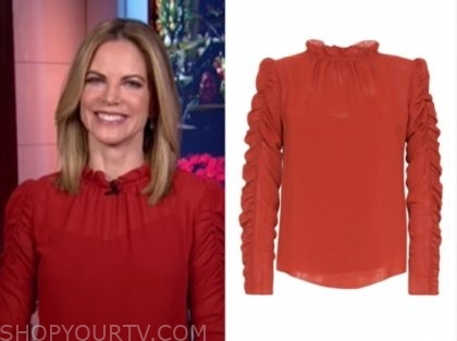 natalie morales's red ruched sleeve blouse
