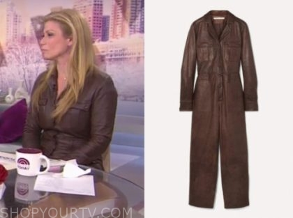jill martin's brown leather jumpsuit