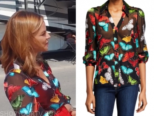 natalie morales's butterfly blouse