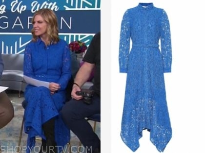 natalie morales's blue lace midi dress
