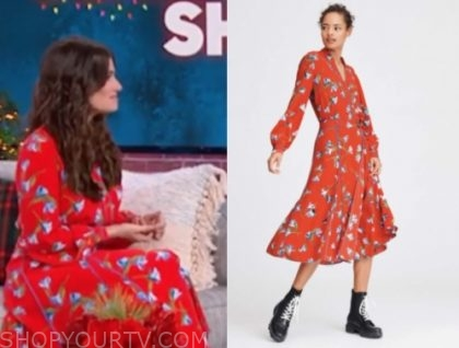 idina menzel's red floral wrap midi dress