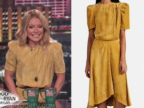 kelly ripa's yellow corduroy dress