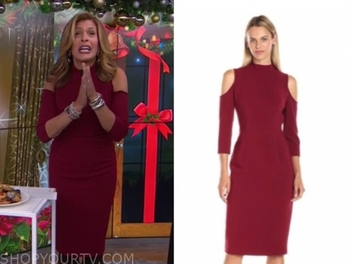 hoda kotb's burgundy cold-shoulder dress