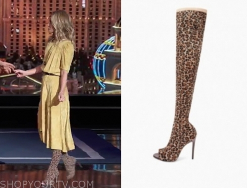 kelly ripa's leopard peep toe thigh high boots