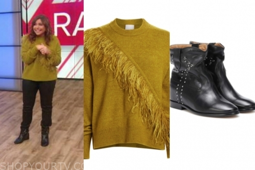 rachael ray's green feather sweater and black boots