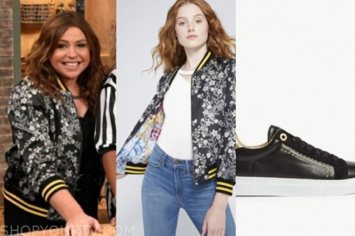rachael ray's floral bomber jacket and black sneakers