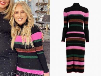 sydney sadick's striped knit midi dress