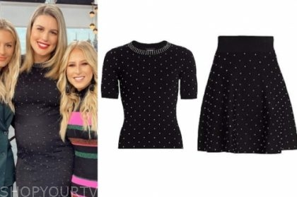 carissa culiner's black studded knit top and skirt