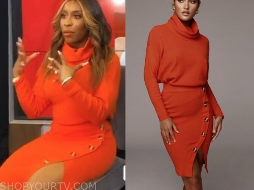 jackie aina orange knit dress