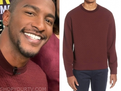 scott evans's burgundy red quilted textured sweater