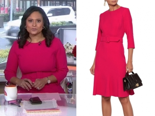 kristen welker's hot pink belted dress