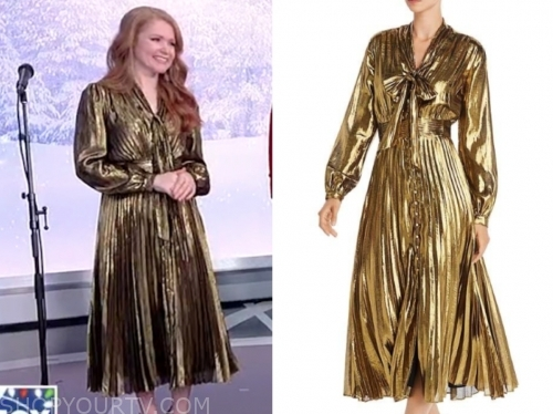 Charleene Closshey's gold metallic tie neck midi dress