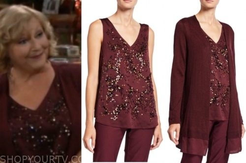 traci's burgundy sequin top and cardigan sweater