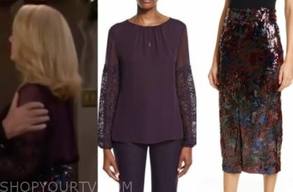 nikki newman's purple blouse and sequin pencil skirt
