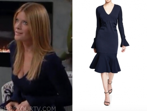 phyllis newman's navy blue knit dress