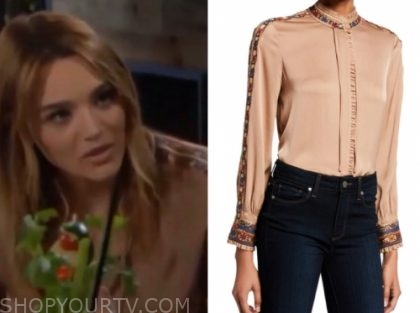 summer newman's beige embroidered blouse